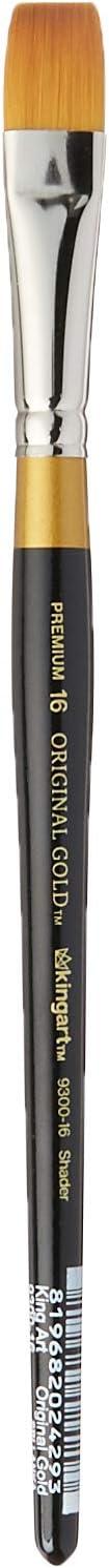 Black Size 16 Premium Artist Brush Golden Taklon Shader KINGART 9300-16 Original Gold 9300 Series