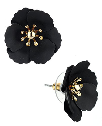 Women's Metal Matte Flower Petal Stud Pierced Earrings, Black