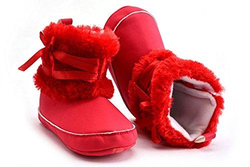 super-bab suela suave, zapatos de bebé, zapatos de Prewalker antideslizante botas de nieve calcetines rosa claro Talla:11cm rosso