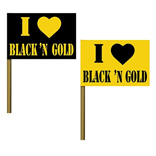 Club Pack of 125 ''I Love Black and Gold'' Flag Party Pick Decoration 8'' by Party Central