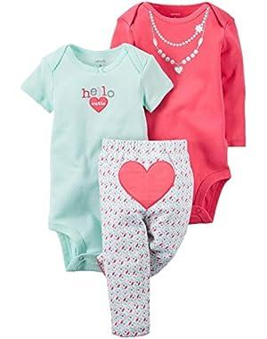 Baby Girls' 3-Piece Geo Heart Set