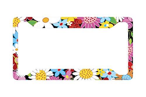 Airstrike Flower License Plate Frame, Flower License Plate Holder, Flower Car Tag Frame Flower Power-30-372 (License Flower Plates)