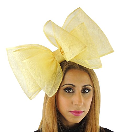 Hats By Cressida Ladies Sinamay Bow Ascot Fascinator Hat With Headband Yellow by Hats By Cressida