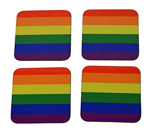 Gay Rainbow Pride Bar - LGBT Rainbow Flag Drink Coaster Set Gift Home Kitchen Bar Barware Gay Pride