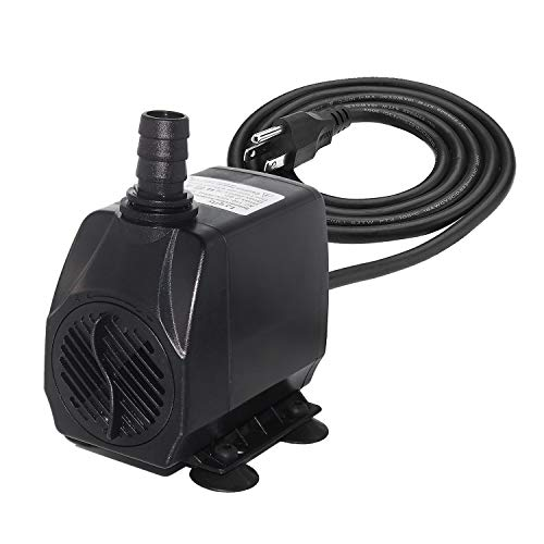 Lyqily 740GPH Water Pump Ultra Quiet 55W Submersible Fountain Aquarium Fish Pond Hydroponic Pump with 8.5ft High Lift, 5.9ft Three-pin Plug Power Cord, 2 Nozzles