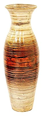 """Heather Ann Creations 29.5"""" Tall Spun Bamboo Decorative Floor or Table Accent Vase with Clear Finish"""