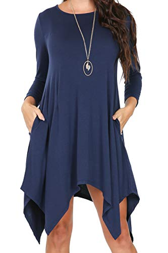 - iliad USA P1136 Womens 3/4 Sleeve Hankerchief Hem Pockets Casual T-Shirt Dress Dark Navy 2XL
