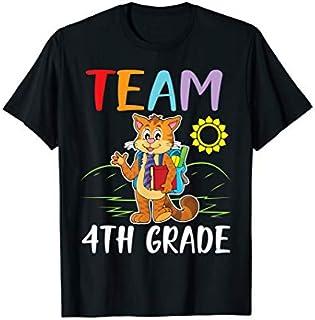 Cat Student Senior Teacher Team 4th Grade Happy School T-shirt | Size S - 5XL