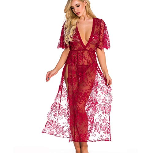 Whear Womens Sexy Lace Chemise Lingerie Deep V Nightgown Teddy Babydoll Bodysuit Underwear Split Long Dress (Wine, XXL)(Wine, -