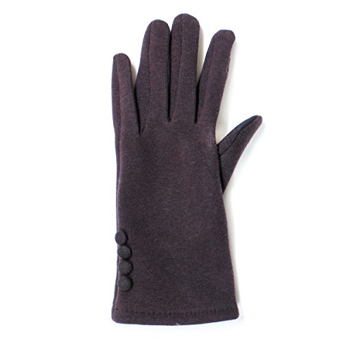 LL Womens Touch Screen Gloves for Smartphone Texting Fleece Lined, Many Styles (Small/Medium, BrownButtons) by Accessory Necessary