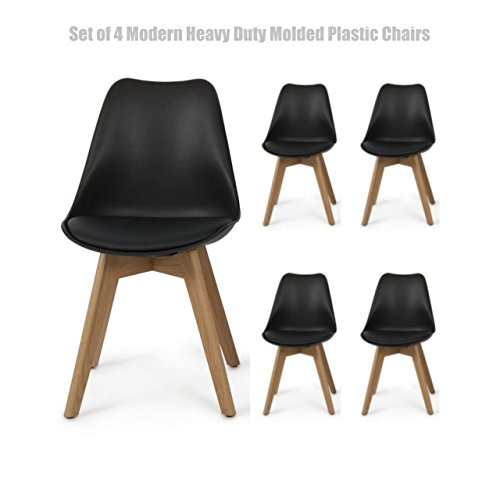 Contemporary Heavy Duty ABS Molded Plastic Chair Posture Support Backrest Design Solid Wooden Legs Durable Padded Cushion Seat - Set of 4 Black #1423a (Outdoor Furniture Clearance Perth)