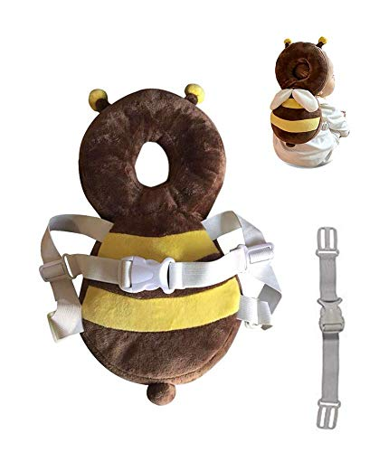 Hewnda Baby Toddlers Head Protective, Adjustable Infant Safety Pads for Baby Walkers Protective Head Cute Small bee (Guard Head Baby)