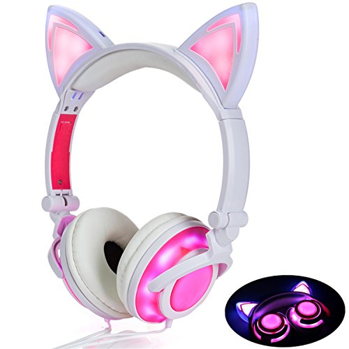 Headphone Cat Ear Headset,LED Light with USB Chargeable Foldable Earphones for Kids Teens Adults, Compatible for Ipad,Tablet,Computer,Mobile Phone LX-R107 (Pink)