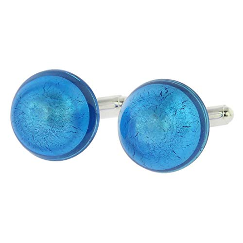 Glass Venetian Dream Cufflinks - Aqua Blue ()