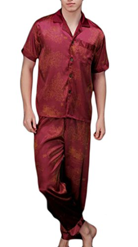 Cromoncent Men's Silk Satin Solid Short Sleeve 2 Piece Nightwear Pajama Set 4 L by Cromoncent (Image #2)