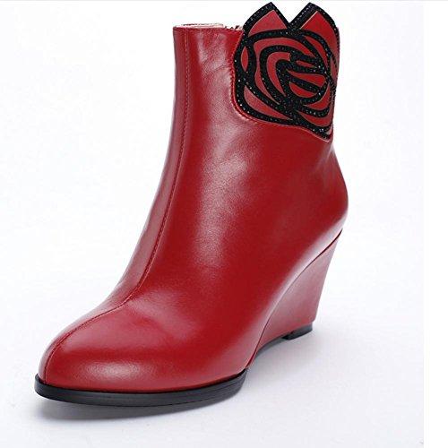 las de imitación de flores de usar rojo lleno antideslizante de goma diamantes de puntas estaciones mujeres cuero red 37 pendiente negro de cortas HLas cuatro XIAOGANG resistencia H xUw6Oq6I