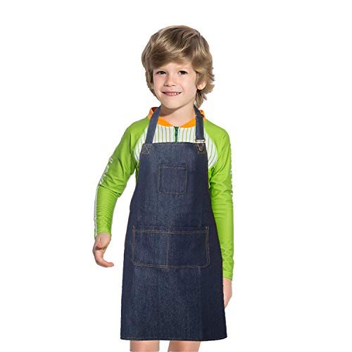 Dadidyc Kids Aprons with Pockets Durable Denim Aprons for Kids Adjustable Artists Bib Aprons for Painting Chef Kitchen Cooking Baking Gardening Aprons Blue