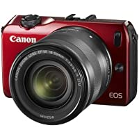Canon EOS-M Mirrorless Digital Camera with EF-M 18-55mm f/3.5-5.6 IS STM Lens (Red) - International Version (No Warranty)