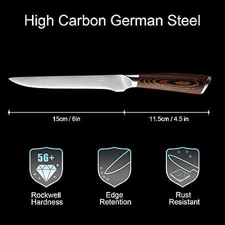 Cuchillo deshuesador cuchillo de filete 15 cm cuchillo de cocinero profesional cuchilla afilada cuchillo de cocina cuchillo de carnicero con mango ergonómico Embalaje de regalo exquisito
