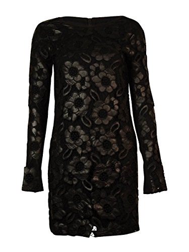 French Connection Women's Daisy Lace Long Sleeve Dress, Black, 0 by French Connection