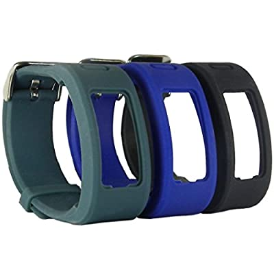 HopCentury One-Size Replacement Garmin Vivofit Band Wristband Strap Accessory with Metal Clasp Buckle for Garmin Vivofit 1 Generation - 3 Pack