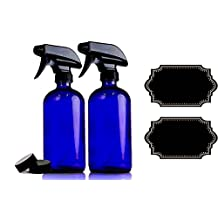 Large 16 oz Cobalt Blue Glass Spray Bottles with Chalkboard Labels (2 Pack), BPA Free for Essential Oils, Aromatherapy and Natural Cleaning Products. Heavy Duty Fine Mist Spray and Stream Trigger Sprayers