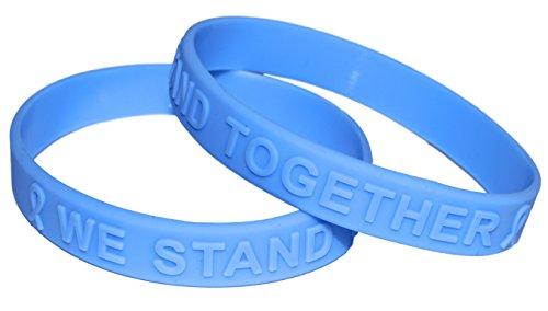 (Light Blue Ribbon Awareness Embossed Silicone Bracelet 50 Pack)