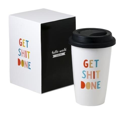 Get Shit Done Thermal Ceramic Coffee Mug With Lid and Gift Box, 11 ounces
