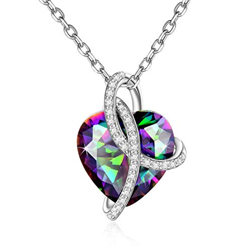 (Heart Necklace 925 Sterling Silver Simulated Mystic Topaz CZ Pendant Necklace Heart Jewelry Gifts for Women Girls)