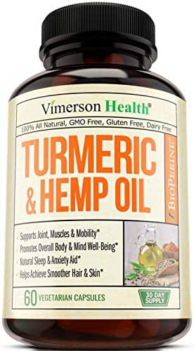 Turmeric Curcumin with Hemp Oil Powder and Bioperine. Joint Pain Relief, Anti Inflammatory, Anti Anxiety. Stress and Sleep Support Supplement with Curcuminoids and Black Pepper. 60 Capsules