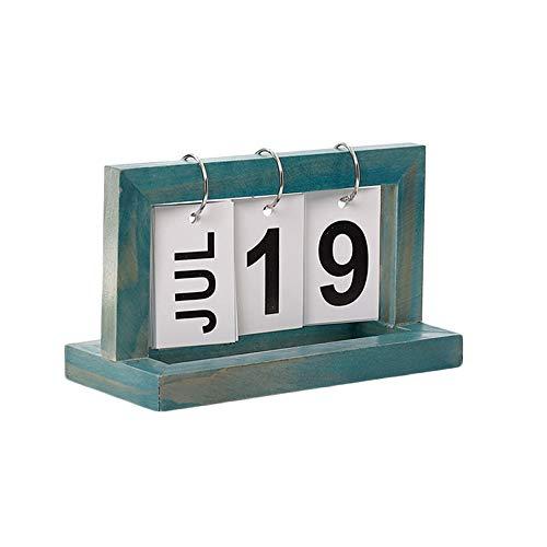 Midress Desk Calendar, Vintage Style Perpetual Calendar DIY Calendar Crafts for Home Office School Desktop Decoration. (B) (Today Block)