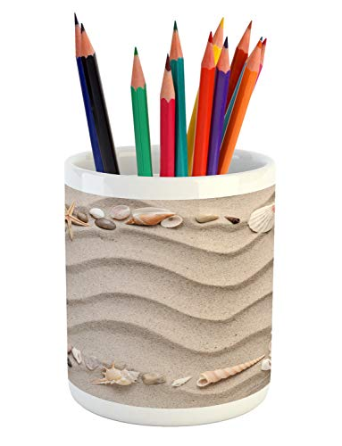 Ambesonne Natural Color Pencil Pen Holder, Square Frame of Seashells in Various Shapes on Wavy Lines Sand, Printed Ceramic Pencil Pen Holder for Desk Office Accessory, Pale Tan and Multicolor - Natural Shells Shell Pen