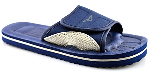Ladies Womens Mens Kids Touch Fastening Shower Beach Mule Sandals Shoes Size Blue F4hFmM