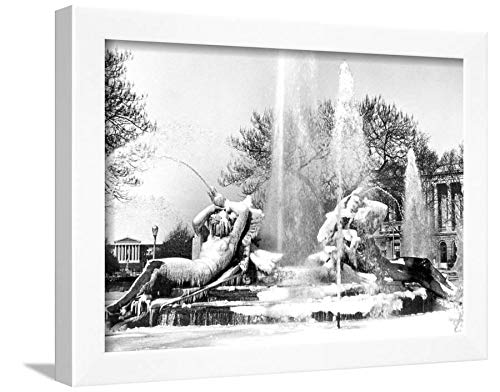 ArtEdge Logan Square, Frozen in Time, Philadelphia, Pennsylvania White Framed Wall Art Print, 12x16 (Logan Square Print)