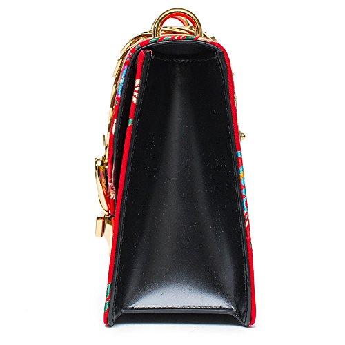 Gucci Sylvie Red Jacquard Floral Tokyo Silk Small Bag Ribbon Leather Handbag New Box