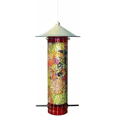 Gardman BA04851 Mosaic Glass Round Tube Seed Feeder 6 Long X 6 Wide X 12 High