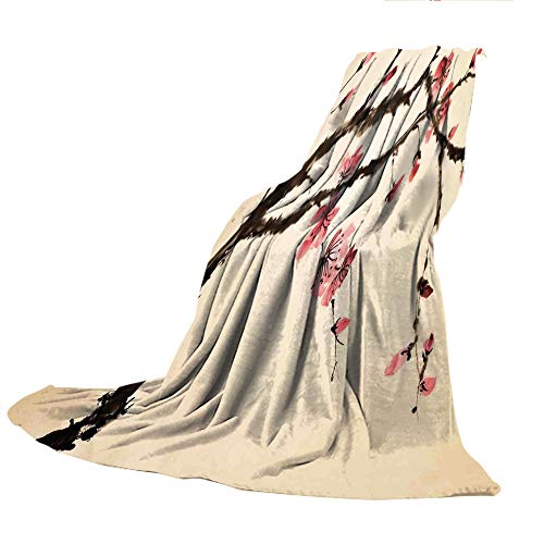 SCOCICI Comfortable Printing Blanket and Washing Machine Washable,Japanese,Traditional Chinese Paint of Figural Tree with Details Brushstroke Effects Print,Pink Brown,59.06