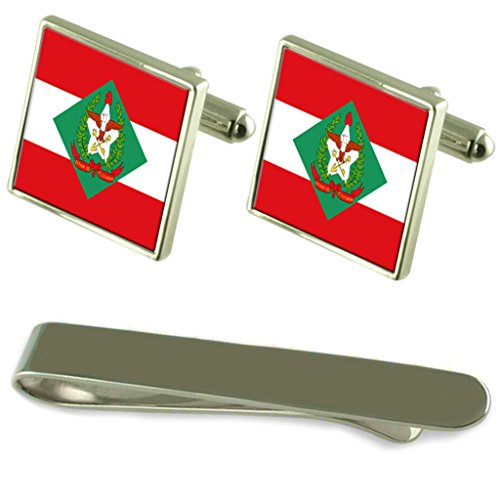 Santa Catarina Flag Silver Cufflinks Tie Clip Engraved Gift Set by Select Gifts
