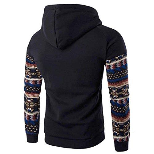 Pickin Men Retro Long Sleeve Hoodie Hooded Sweatshirt Tops Jacket Coat Outwear BlackLarge