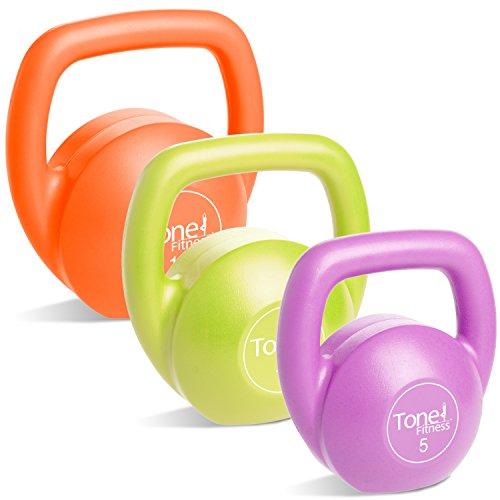 Tone Fitness Vinyl Kettlebell Set 30 lbs