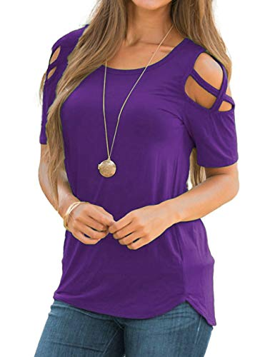 Women's Casual Tunic Top Short Sleeve T-Shirt Criss Cross Cold Shoulder Strappy Tops Purple 2XL