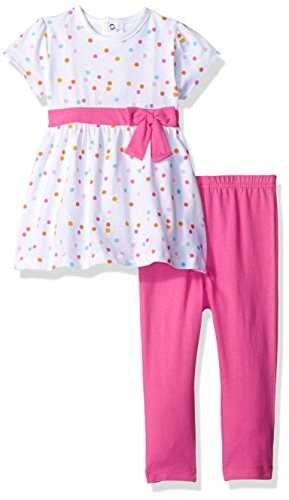 (Bon Bebe Baby Girls' 2 Piece Short Sleeve Dress and Legging Set, Fushia Bow/Polkadots, 12 Months )