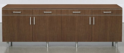 Modern Credenza Cabinet, Designer Office, Conference Storage Buffet Furniture, 6 Doors, Mahogany on Walnut