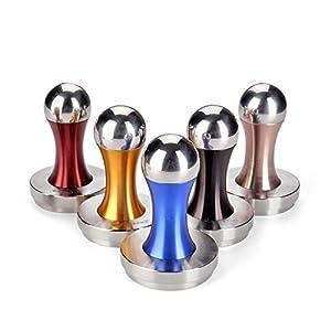 Flexzion Coffee Tamper Machine 58mm Diameter Stainless Steel Flat Base Wood Grip Handle Barista Espresso Bean Press Tool in Silver Kitchen Accessories from Flexzion