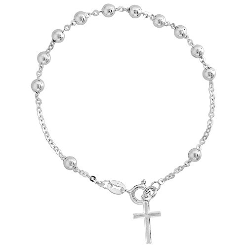 Sterling Silver Rosary Bracelet 4 mm Beads Cable Chain Italy, 7 inch 4mm Sterling Silver Cable