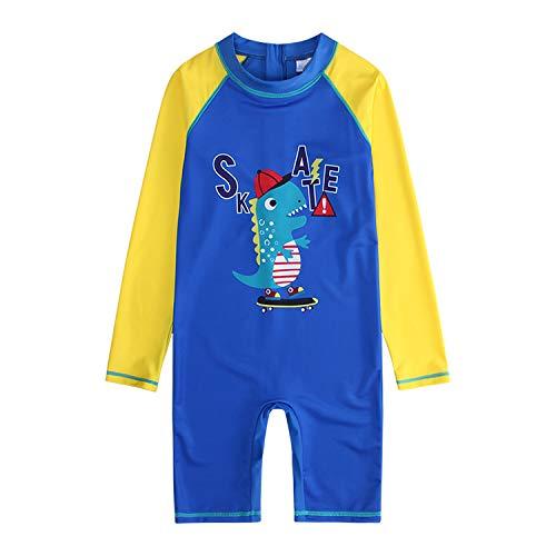 Boys One Piece Long Sleeve Swimwear Printed Cute dinosa Swimsuit 50+UPF Sun Protection Swimsuit Costume 2-10 Years Swimming Bathing Beachwear (6Y) Blue]()
