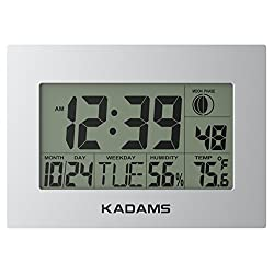 KADAMS Digital Wall Clock Alarm, Seconds Counter, Snooze, Calendar Date Day, Indoor Temperature, Humidity, Moon Phase, Large Display, Wall Hanging & Shelf Desk Clock Stand - Silver