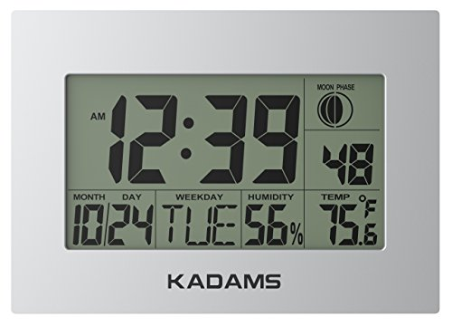 Cheap [2018 VERSION] KADAMS Digital Wall Clock with Alarm, Seconds Counter, Snooze, Calendar Date Day, Indoor Temperature, Humidity, Moon Phase, Large Display, Wall Hanging & Shelf Desk Clock Stand – SILVER