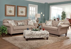 Roundhill Furniture Metropolitan Taupe Fabric Upholstery Wood Frame Living Room Collection - Upholstery Living Room Furniture