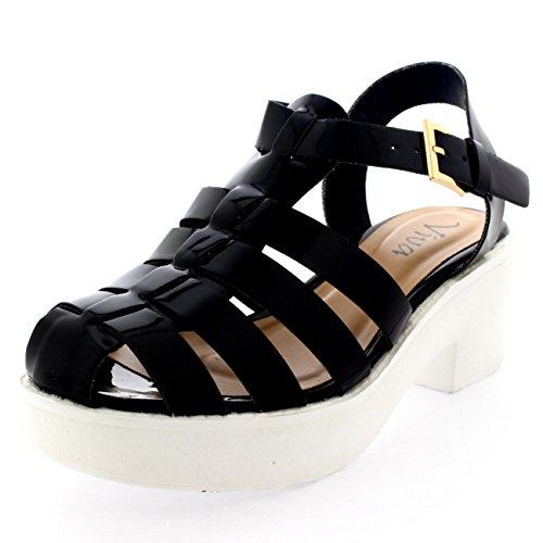 Mujer Mediados Talón Gladiador Plataforma Zapatos Tacón Grueso Sandalia Negro Patente